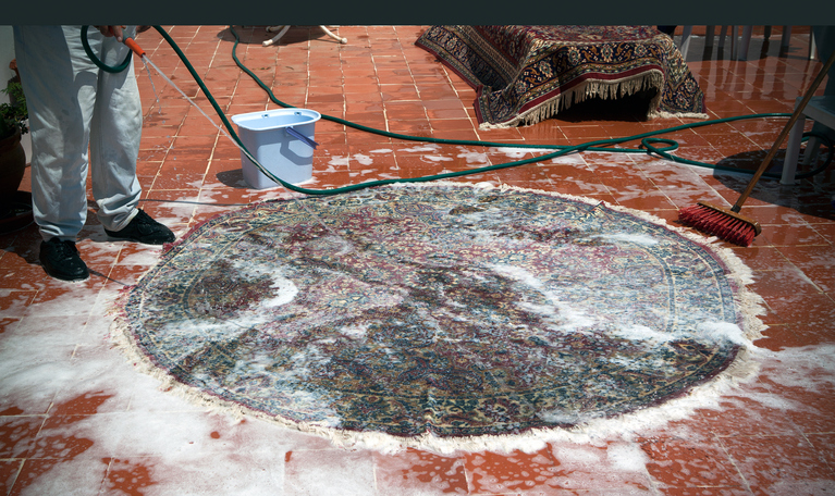You can wash small Oriental rugs yourself; however, a professional rug cleaner will use elite products specifically designed for Oriental rugs unlike what you can find in retail stores